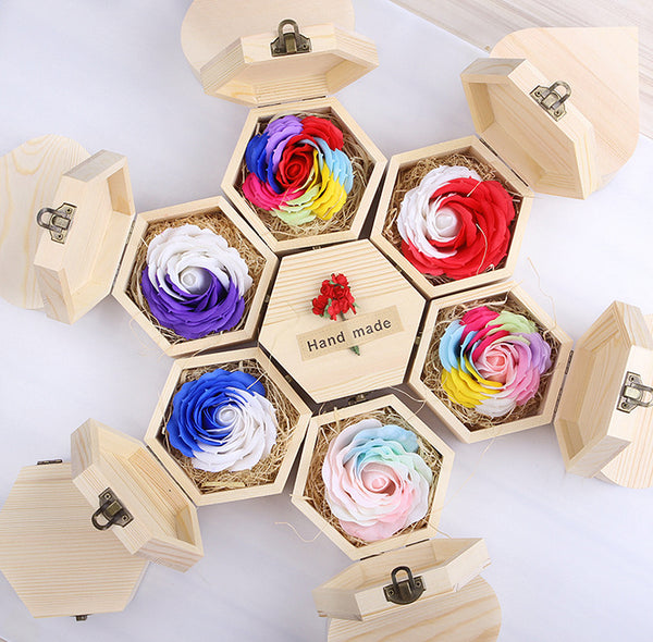 2pcs/lot Handmade Romantic Rose Soap Flower Luminous Colorful Creative Valentine's Day Gift