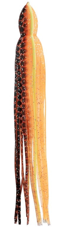 Red-Orange Dot Yellow with Glitter Replacement Lure Skirt, Octopus Style