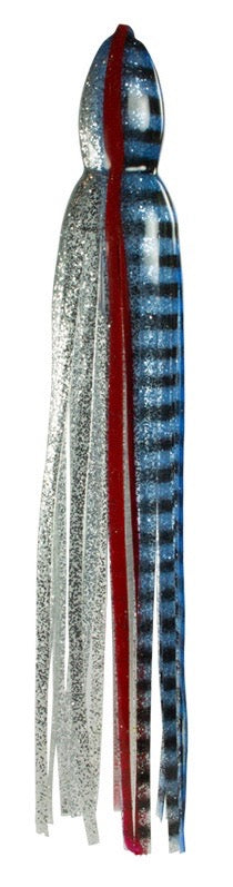 Blue Silver Black Bars Red Line Replacement Lure Skirt, Octopus Style