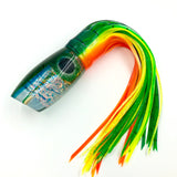 "Maui Plunger 14"" Lure Dichro Insert Green Top Blue Line Bleeding Dorado"