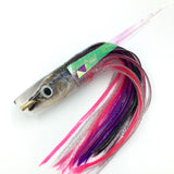 "KC Lures Real Ballyhoo Fish Head 14"" Plunger Natural w/Purple Silver Pink Skirting"