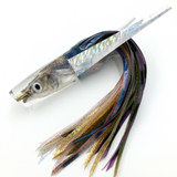 "KC Lures Real Ballyhoo Fish Head 14"" Plunger Natural w/Purple Blue Green Gold Skirting"