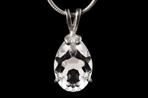 Pear faceted crystal pendant
