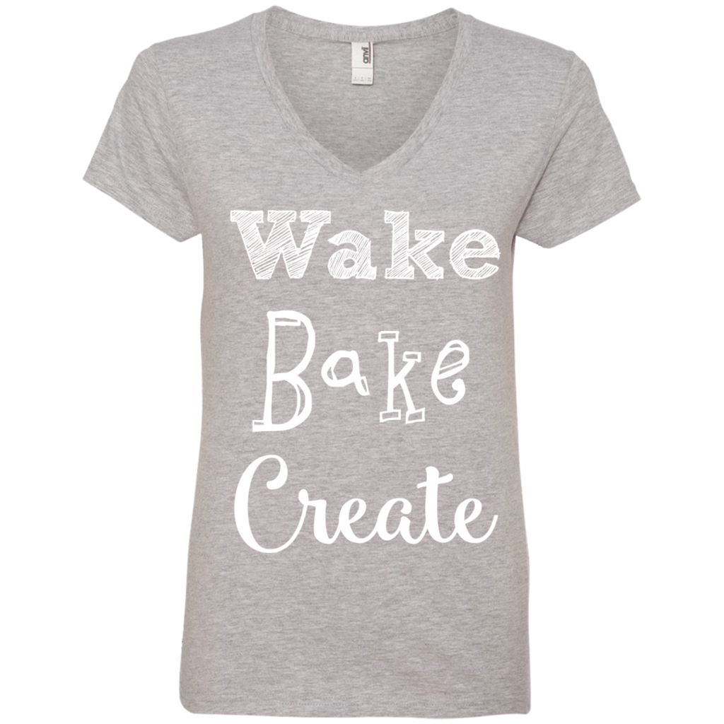 Wake Bake Create Ladies V-Neck T-Shirt
