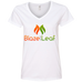 Blaze And Leaf Ladies V-Neck T-Shirt