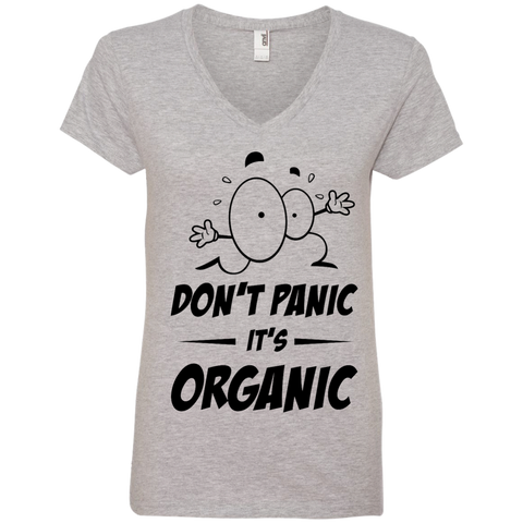 Don't Panic, It's Organic Ladies V-Neck T-Shirt