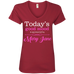 Sponsored By Mary Jane Ladies V-Neck T-Shirt