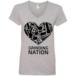 Grinding Nation Ladies V-Neck T-Shirt