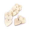 Image of 100pcs 20mm Blank Heart Wood Slices Discs for DIY Crafts Embellishments (Wood Color)