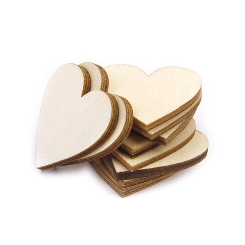 100pcs 20mm Blank Heart Wood Slices Discs for DIY Crafts Embellishments (Wood Color)
