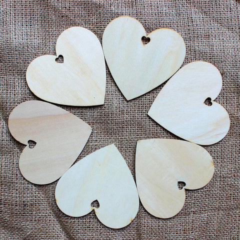 50pcs 100mm Blank Heart Wood Slices Discs for DIY Crafts Embellishments (Wood Color)