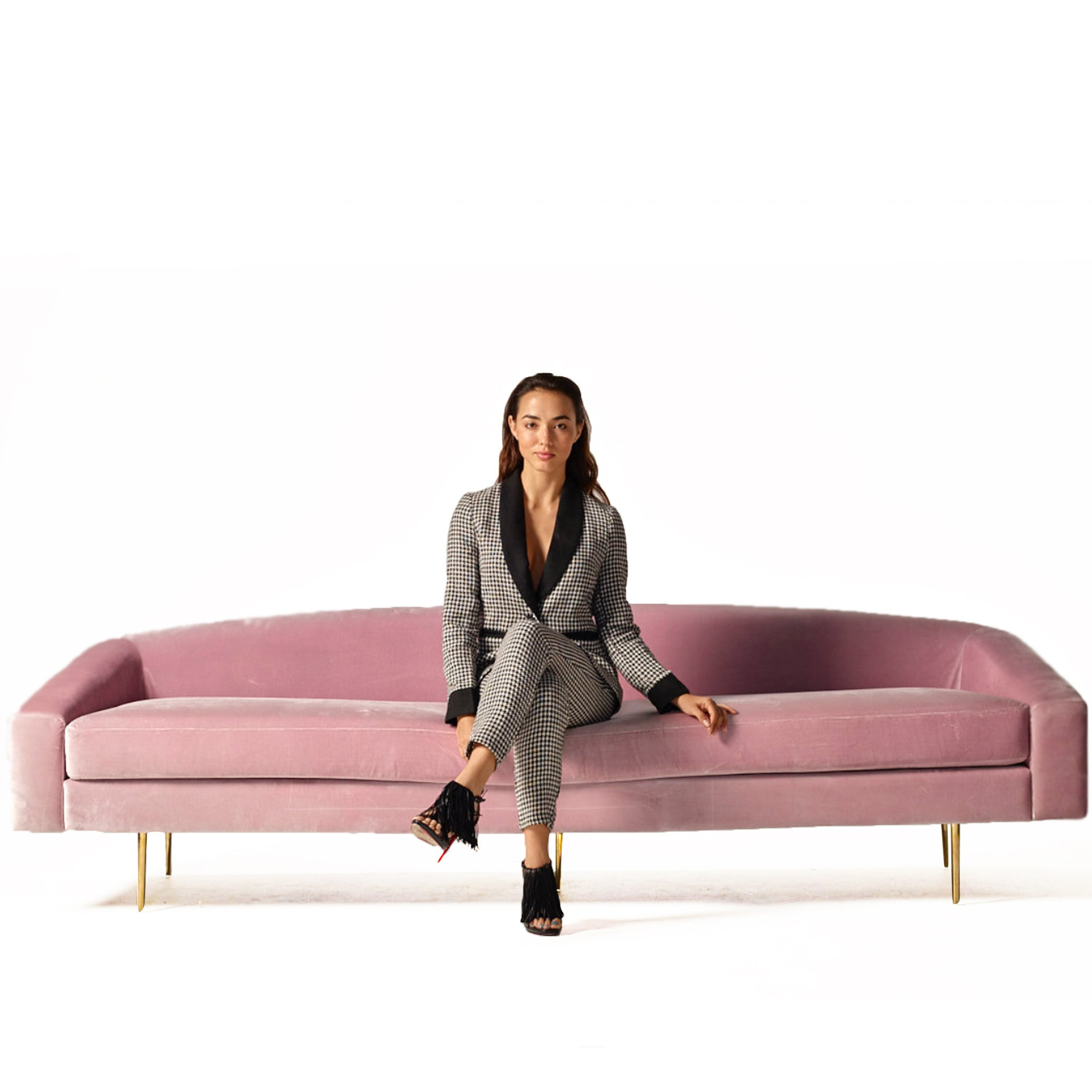 Vivi Sofa in Pink Velvet