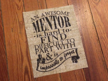 "Burlap Teacher Appreciation Print - ""An Awesome Mentor is..."""