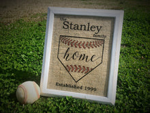 "Baseball ""Home"" Personalized Burlap Sign"