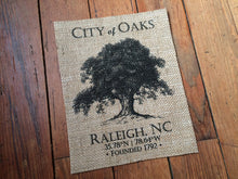 "North Carolina ""City of Oaks - Raleigh NC"" Burlap Art Print"