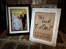 """We Said I Do"" Coordinates Burlap Print Sign"