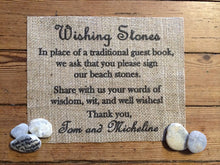 """Wishing Stones"" Burlap Wedding Sign"