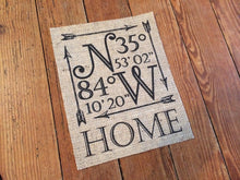 "Personalized ""HOME"" Coordinates Burlap Sign"