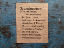Grandmother Definition Burlap Print