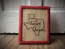 """Deep in the Heart of Texas"" Burlap Print Sign"