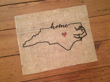 "North Carolina ""home"" Burlap Art Print 001"