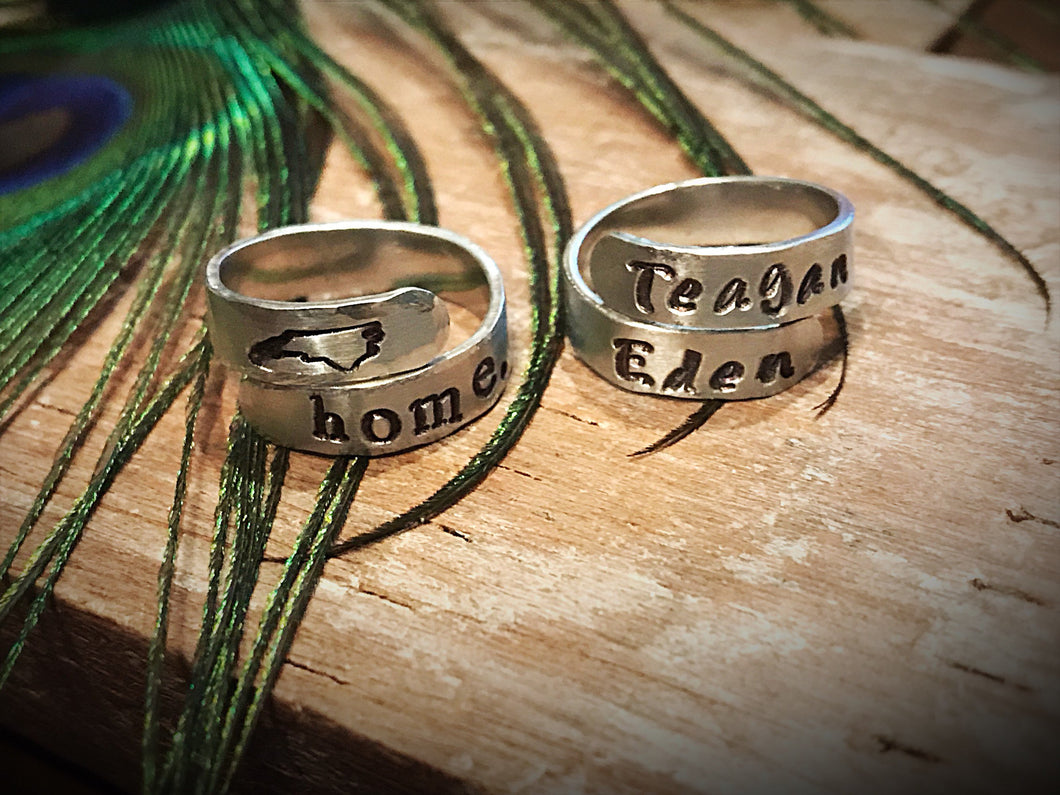 Hand-Stamped Aluminium Name Rings