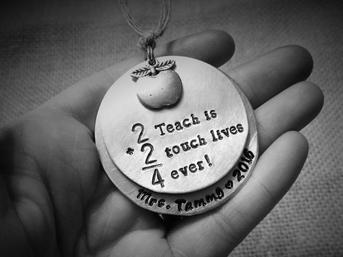 2+2=4 To Teach is To Touch Lives Forever - Teacher Ornament