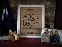 """Where It All Began"" Coordinates Burlap Print - WB002"