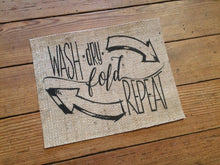 "Laundry Room Burlap Print - ""Wash • Dry • Fold • Repeat"""