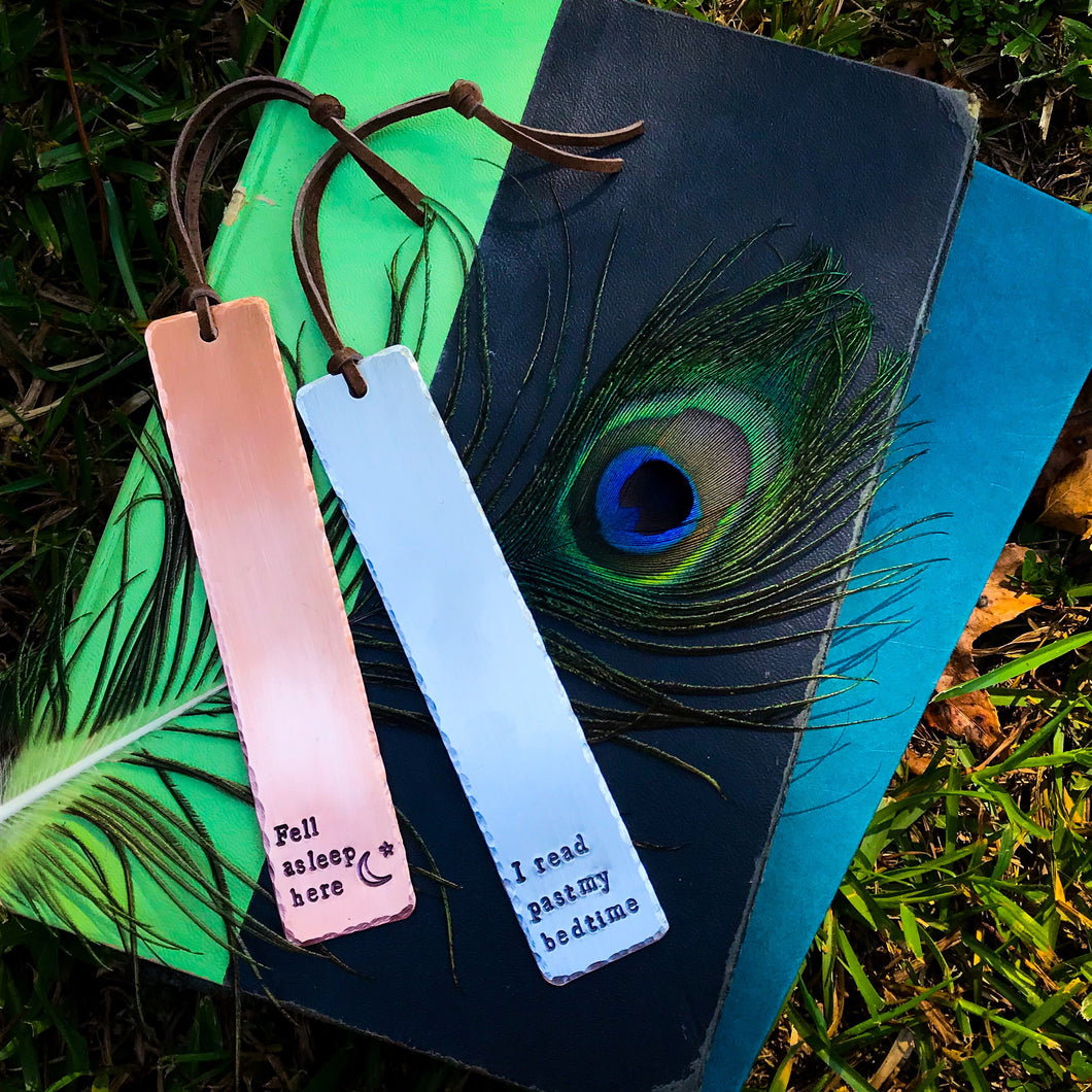 Hand-Stamped Bookmarks - YOUR CHOICE OF WORDING - Copper OR Aluminum