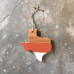 "TEAM SPIRIT TEXAS ORNAMENT - 6"" (Burnt Orange & White)"