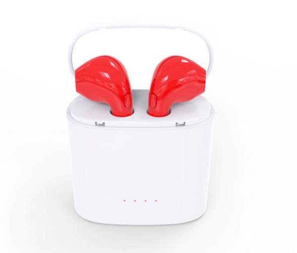 Red Wireless Earbuds with Charging Box