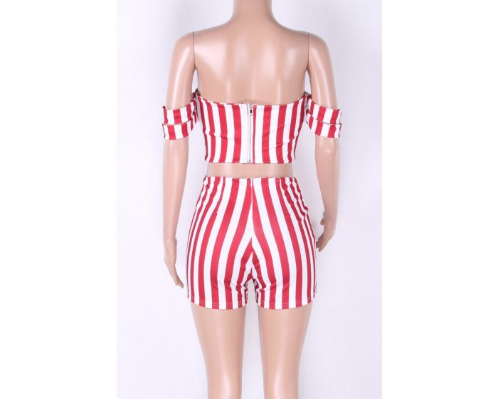 Sexy RED Candy Striped Short Set - terryjerrynguys