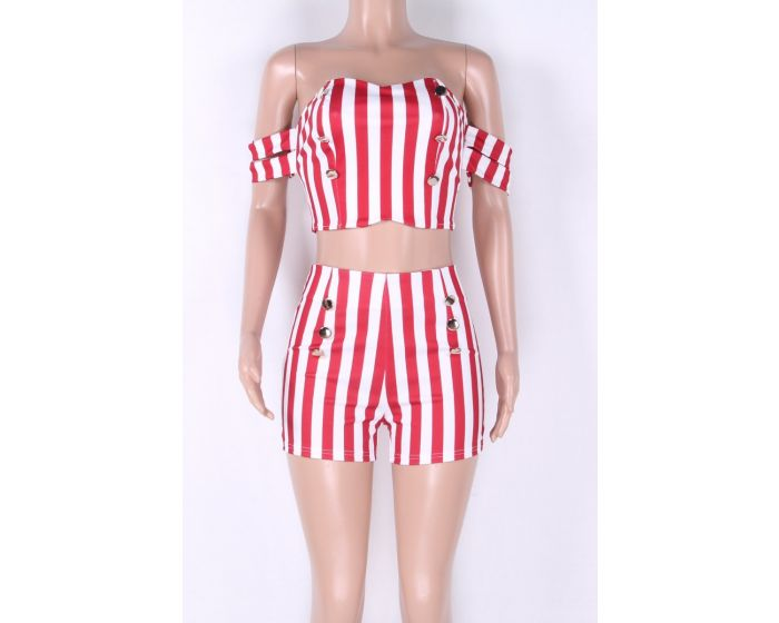 Sexy RED Candy Striped Short Set