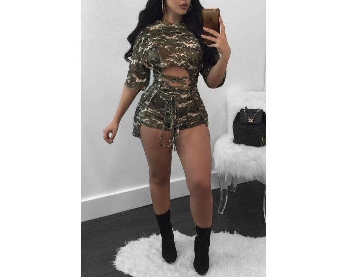 Camouflage Print Strappy Front Plus Size Two-Piece Set - terryjerrynguys
