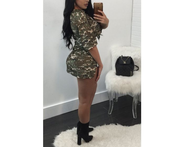 Camouflage Print Strappy Front Plus Size Two-Piece Set