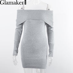 Autumn off shoulder long sleeve bodycon sexy sweater dress