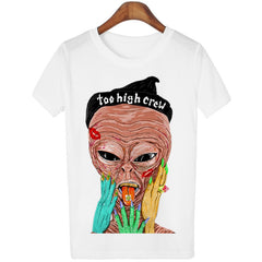 Smoking Alien Print Top