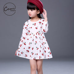 Cartoon Cherry Long Sleeve Dress