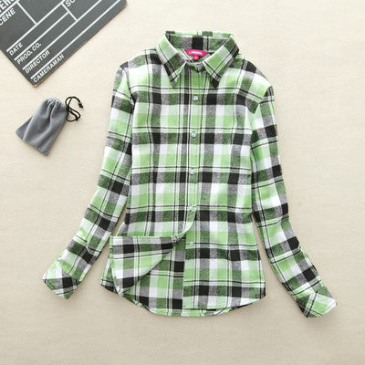 2017 Hot Sale Autumn Winter Ladies Female Casual Cotton Lapel Long-Sleeve Plaid Shirt Women Slim Outerwear Blouse Tops Clothing - terryjerrynguys