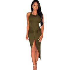 Sleeveless Vortex Fold High Split Bodycon maxi dress