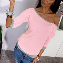 New Spring Sexy Women Long Sleeve Loose Shirt