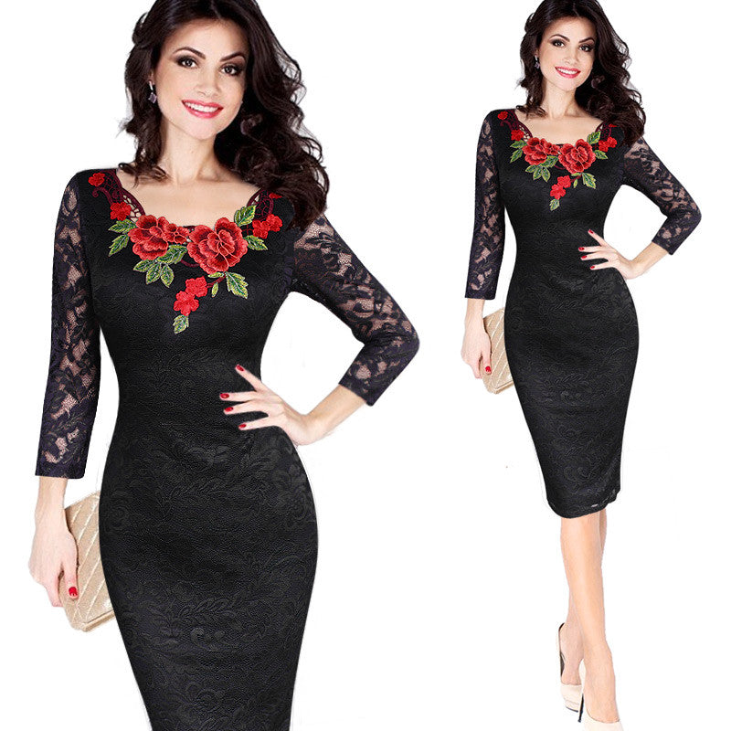 Womens Autumn Elegant Embroidery  Special Occasion Dress