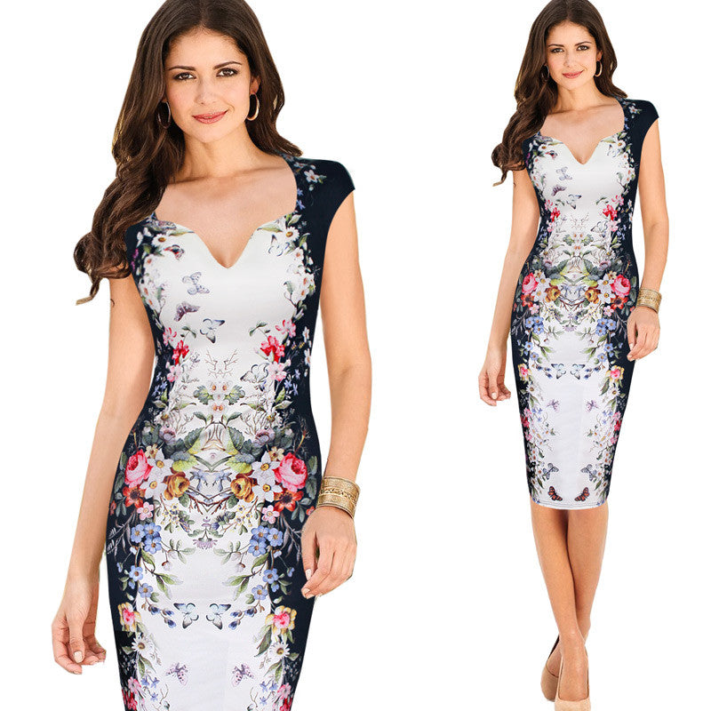 Charming Pinup Cap Sleeve Casual Party Bodycon