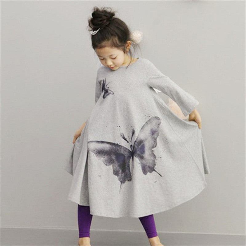 Hot sale Full butterfly print Dress
