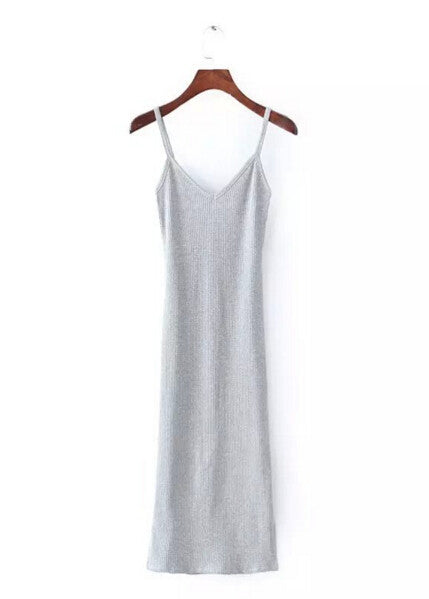 Sexy Deep V neck Spaghetti Strap Stretch Midi Dress