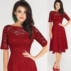 Womens Elegant Sexy Lace A-Line Party Dress