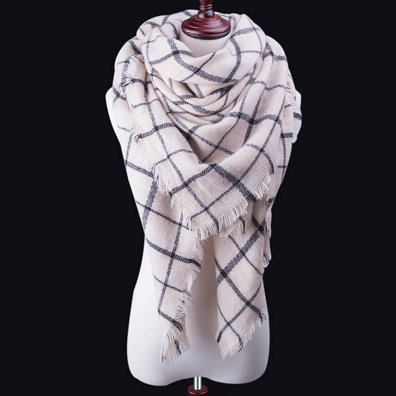 Za Fashion Winter Scarf For Women Scarf Cashmere Warm Plaid Pashmina Scarf Luxury Brand Blanket Wraps Female Scarves And Shawls