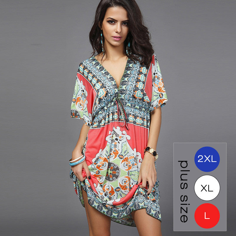 Sexy Loose Sundresses Deep V Ethnic Beach Dress