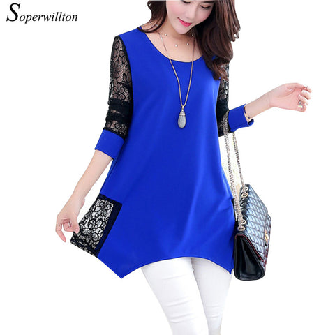 2016 Shirt Women For Work and Casual Women Blouses O-neck Plus Size 5XL Blusas Patch Lace Blouse Long Sleeve Female Shirts D5002 - terryjerrynguys